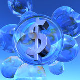 Dollar bubble. Illustration of the Dollar sign in silver in a soap bubble surrounded by several empty soap bubbles vector illustration
