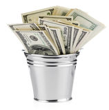 Dollar in bucket Stock Photography