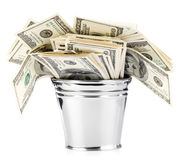 Dollar in bucket Royalty Free Stock Image