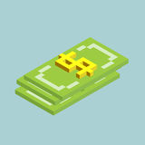 Dollar, bucks sign cubes form, isometric US currency icon, vector illustration.  Royalty Free Stock Photography