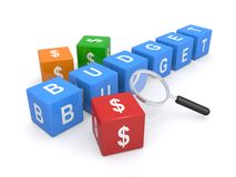 Dollar budget. Colorful 3d blocks with dollar signs, word budget and magnifying glass on white background Royalty Free Stock Image