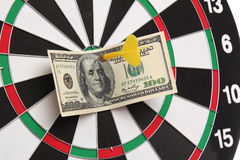 Dollar on bulls eye Royalty Free Stock Photo