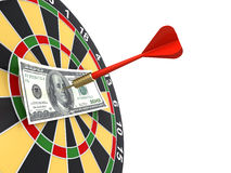 Dollar on bullseye Stock Image