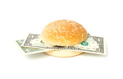 Dollar burger with bank notes Stock Images