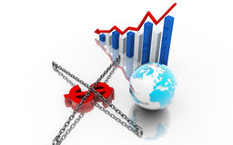 Dollar,business graph and globe Royalty Free Stock Image