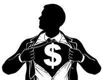 Dollar Business Man Superhero Tearing Shirt Chest Stock Photography