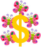 Dollar and butterflies Stock Photo