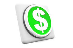 Dollar button. 3d render of dollar button on isolated background Royalty Free Stock Images