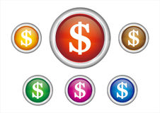 dollar button icon Royalty Free Stock Photos