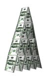 Dollar bygger ett hus. Finansiellt pyramidebegrepp Royaltyfri Foto