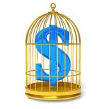 Dollar in cage. Financial concept: blue dollar sign in golden bird cage isolated over white background Royalty Free Stock Photos
