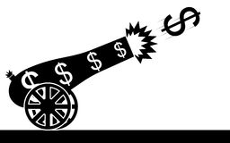 Dollar cannon. Vector / illustration of a dollar sign that is flying from a cannon Royalty Free Stock Photos
