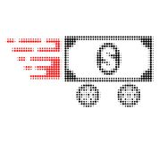 Dollar Car Halftone Dotted Icon with Fast Rush Effect vector illustration