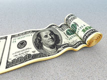Dollar carpet. 3d image of dollar rolling carpet Royalty Free Stock Photography