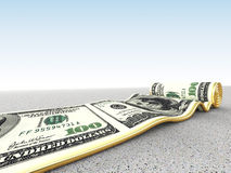 Dollar carpet. 3d image of dollar rolling carpet Royalty Free Stock Photo
