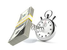 Dollar cash with stopwatch. On white background royalty free illustration