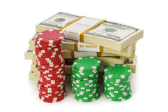 Dollar and casino chip stacks Stock Photos