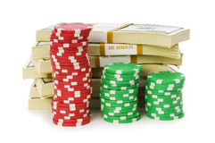 Dollar and casino chip stacks Royalty Free Stock Photography