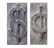 Dollar and cent symbols. Dollar and cent  -isolated symbols in vintage grunge metal letterpress printing blocks Stock Images