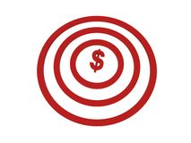 Dollar in centre of target. Dollar sign in center of red target, white background Royalty Free Stock Photography