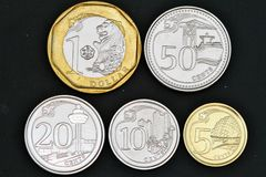 2013 Singapore coins Isolated on Black Royalty Free Stock Photos