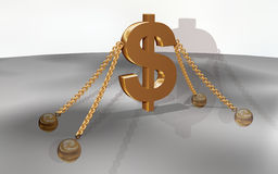 Dollar with chain Royalty Free Stock Images