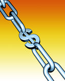 Dollar chain. Chain with dollar symbol in place of one of the links Stock Image