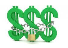 Dollar, Chain and Padlock Royalty Free Stock Images