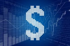 Dollar Chain and Stock Charts Stock Photography