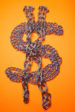 Dollar Chains. Concept and ideas: Dollar Sign In Metal Chains stock photography