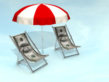 Dollar chair. Conceptual dollar launge chair and a parasol - 3d render Royalty Free Stock Photo