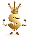 Dollar Character with bodybuilding pose and crown Royalty Free Stock Images
