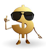 Dollar Character with goggle Royalty Free Stock Image