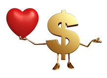 Dollar Character with heart Stock Images
