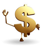 Dollar Character with hello pose Royalty Free Stock Photos