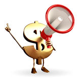 Dollar Character with loudspeaker Stock Image