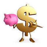 Dollar Character with piggy bank Stock Image