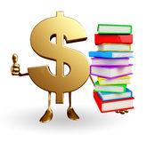 Dollar Character with  pile of books Stock Images