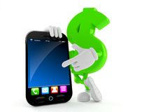 Dollar character with smart phone Royalty Free Stock Images