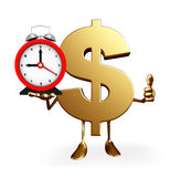 Dollar Character with table clock Stock Photography