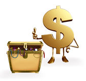 Dollar Character with treasure box Royalty Free Stock Image