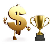Dollar Character with trophy Royalty Free Stock Photo