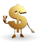 Dollar Character with victory sign Stock Photo