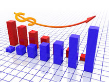 Dollar chart. 3d rendered image, two graphs, red and blue with a dollar sign and an arrow Royalty Free Stock Photography