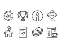 Dollar, Checked file and Winner icons. Update data, Victory and Coffee machine signs. Set of Dollar, Checked file and Winner icons. Update data, Victory and Royalty Free Stock Photos