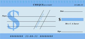 Dollar cheque Stock Photography