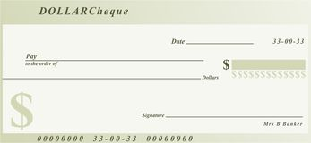 Dollar cheque Royalty Free Stock Image