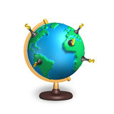 Dollar chess and 3d map terrestrial globe. Dollar chess stand on 3d map terrestrial globe isolated on white Royalty Free Stock Images