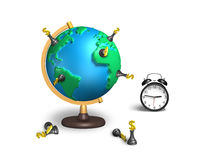 Dollar chess stand on 3d map terrestrial globe with clock. Dollar chess stand on 3d map terrestrial globe with alarm clock  on white Royalty Free Stock Photos
