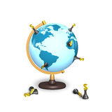 Dollar chess stand on terrestrial globe. Isolated on white Stock Photos